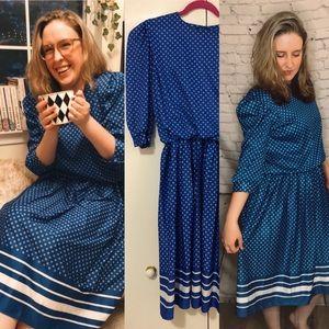 Vintage dress - blue polka dots - VGUC